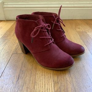 Burgundy TOMS Lace-Up Booties